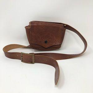 Fanny Pack Hip Bag Tooled Leather Floral Belt Boho
